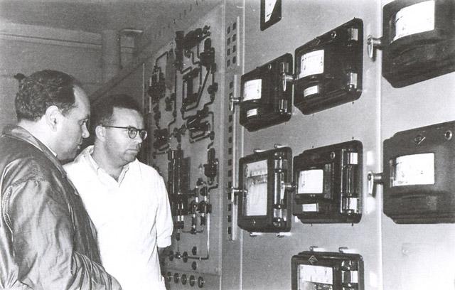 Игорь Ильич Бондаренко и Дмитрий Самойлович Пинхасик в Обнинске на пуске БР-5 в 1958 году