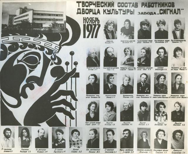 Творческий состав работников дворца культуры завода «Сигнал» в ноябре 1977 года
