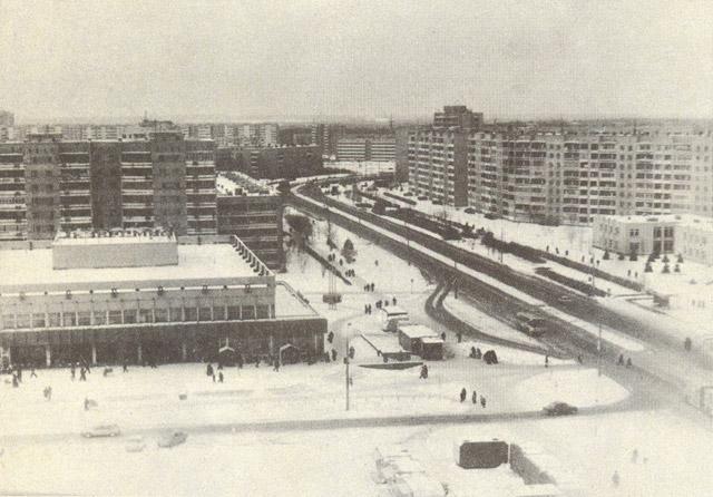 Пересечение улиц Энгельса и Аксёнова в Обнинске в советское время