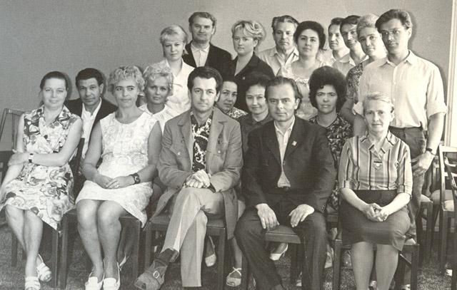 Встреча сотрудников ГК ВЛКСМ и ГК КПСС с космонавтом Виталием Ивановичим Севастьяновым, июнь 1973 года