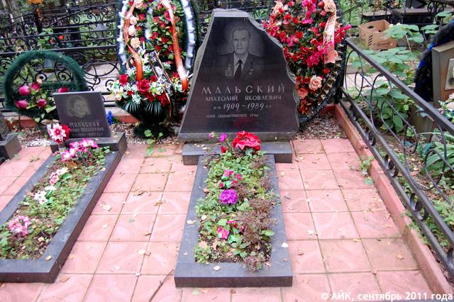 Могила Анатолия Яковлевича Мальского на Кончаловском кладбище в Обнинске
