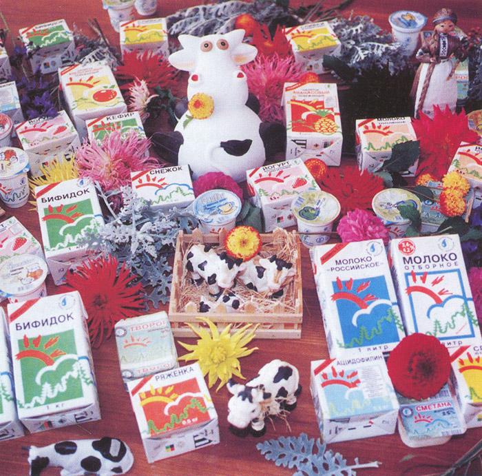 Старая продуктовая линейка «Обнинского молочного завода» (с ныне снятыми с производства йогуртами и фруктовыми напитками)