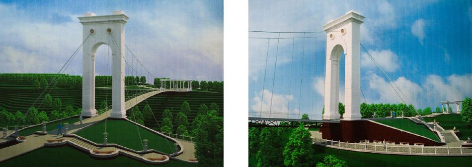 Подвесной мост через Репинку в старой части Обнинска: проектные рисунки 2008 года