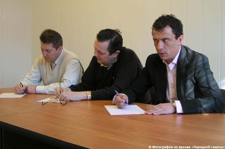 Александр Юрьевич Силуянов, Владимир Николаевич Савин и Лев Александрович Березнер сдают экзамен по русскому языку (2007 год)