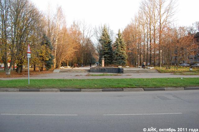 Пешеходная аллея на улице Жолио-Кюри в Обнинске