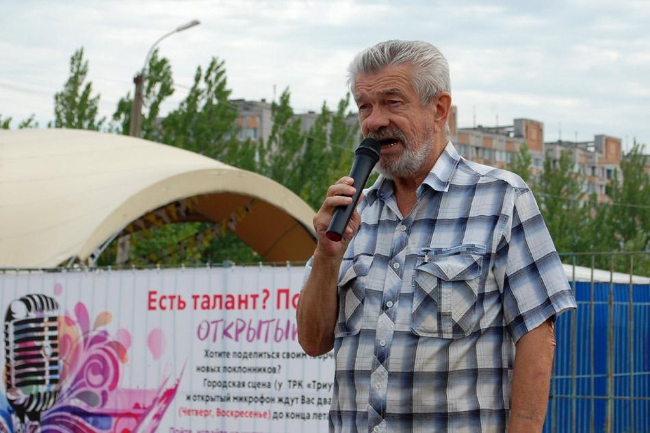Александр Михайлович Кошкин выступает на проекте «Открытый микрофон» в городе Обнинске (26 июля 2018 года)