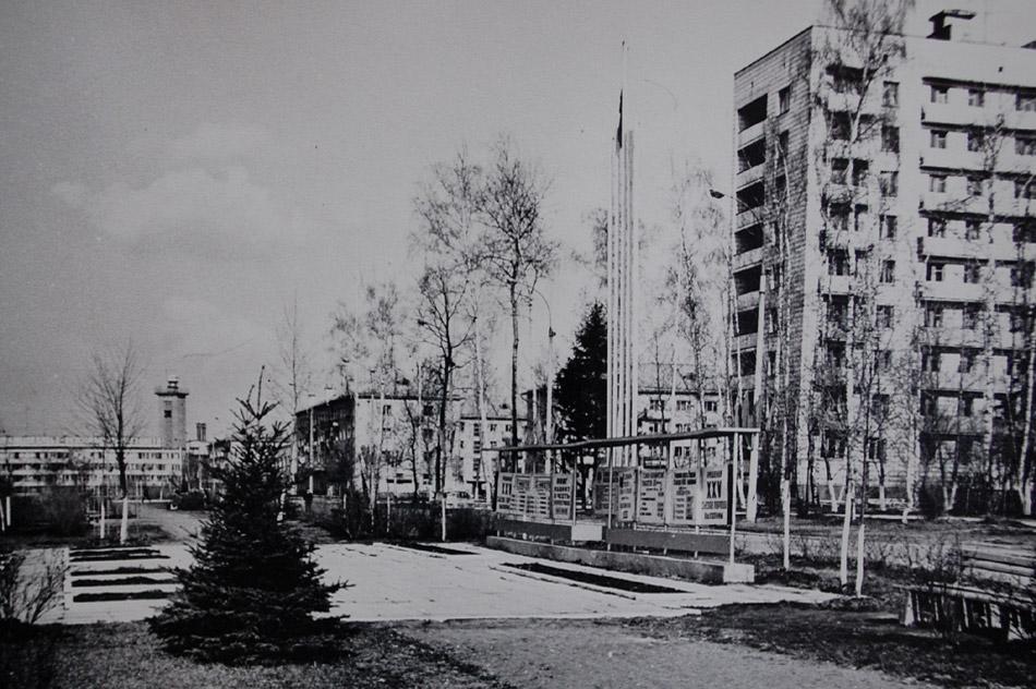 Улица Победы (бульвар Энтузиастов) в 1976 году в городе Обнинске