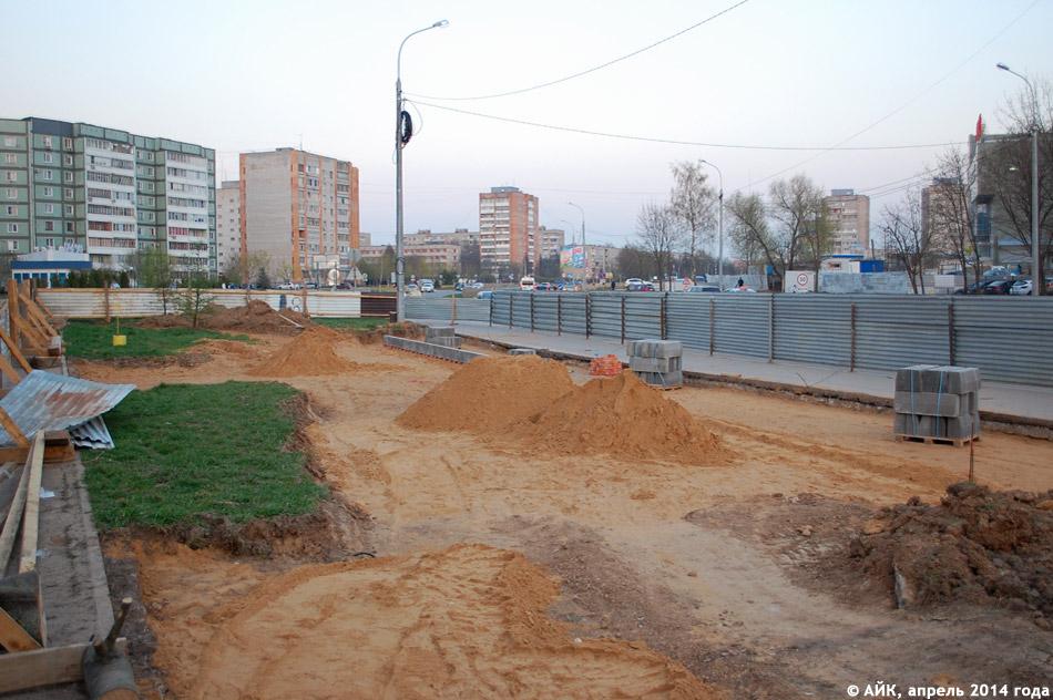 Строящаяся автобусная остановка на улице Гагарина (неподалёку от ТРК «Триумф Плаза») в городе Обнинске