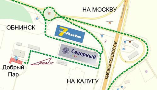 Схема проезда к сауне «Добрый пар» в городе Обнинске