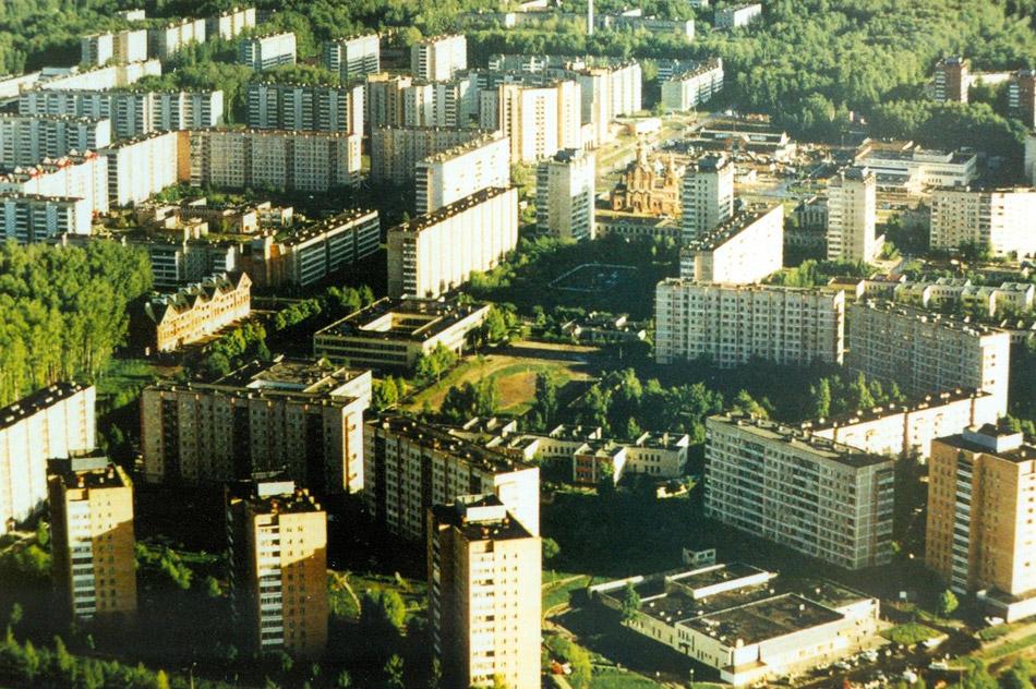Вид на 39 микрорайон в городе Обнинске с вертолёта в 2001 году